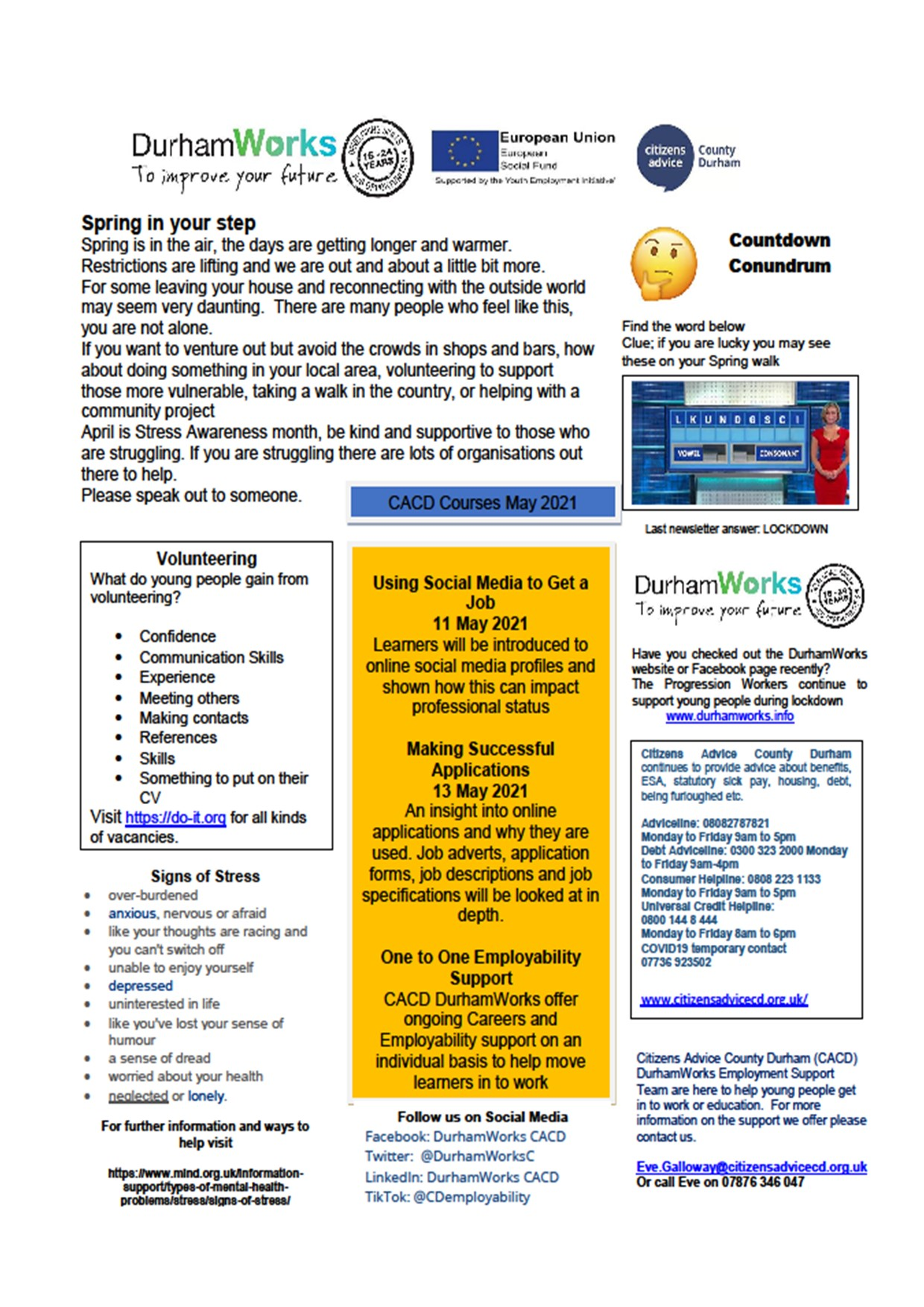 CACD newsletter May